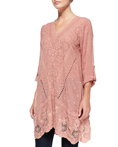 Yen Embroidered V-Neck Tunic, Apricot, Women's