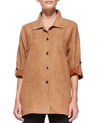 Modern Faux-Suede Button-Front Shirt, Women's