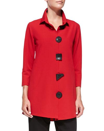 3/4-Sleeve Travel Gabardine Shirt, Red, Petite