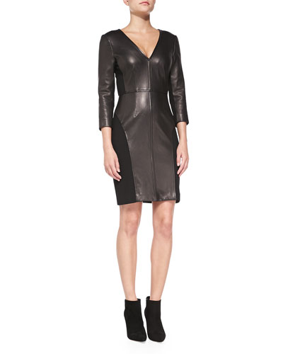 3/4-Sleeve Leather-Front Sheath Dress