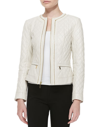 Quilted Leather Jacket w/Chain Trim