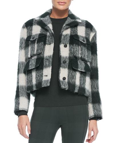 Louisiana Cropped Fuzzy Plaid Jacket