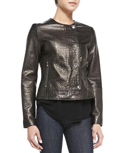 Crocodile-Embossed Metallic Leather Jacket