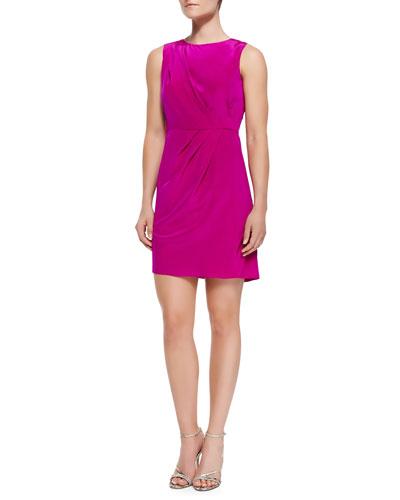 Sleeveless Luxe Diagonal Pleat Dress