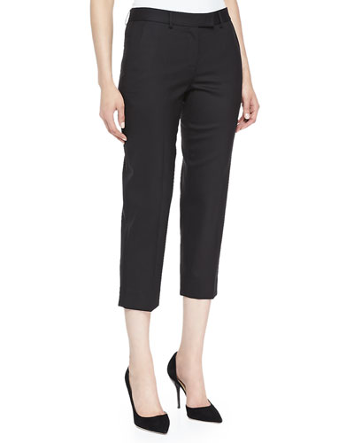 Cropped Gabardine Pants, Black