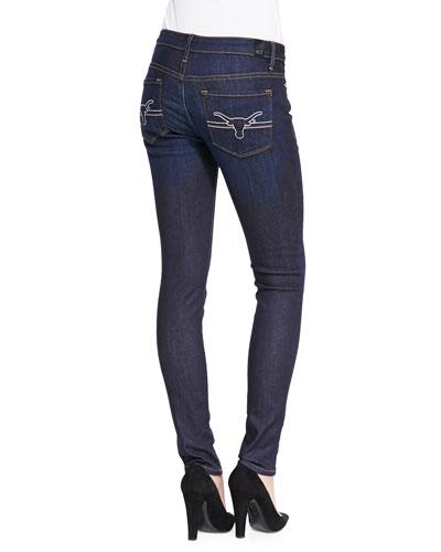Texas?? Longhorn?? Branded Skinny Jeans, Blue