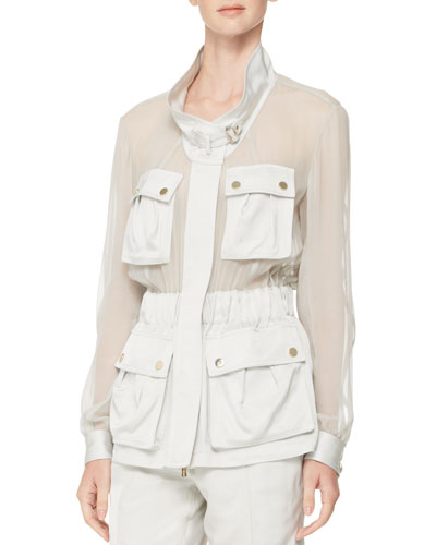 Sheer-Panel Crepe Utility Jacket