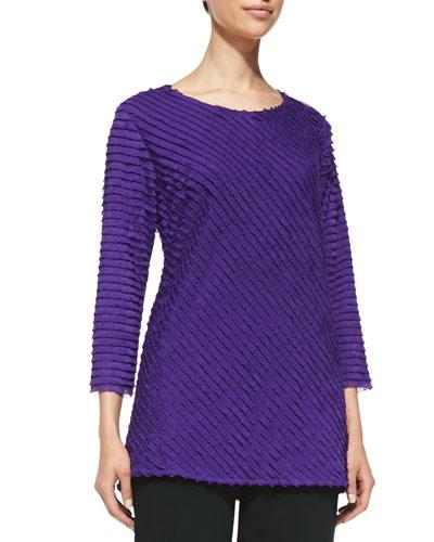 Bias-Ruffled Knit Tunic, Purple, Women's