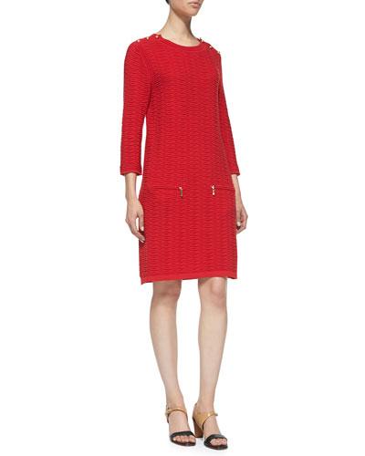 Sand-Stitched Zip-Pocket Shift Dress, Petite