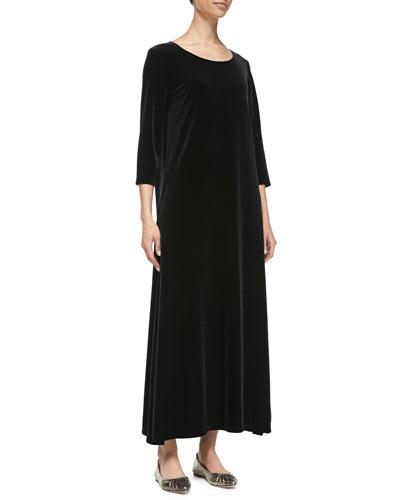 3/4-Sleeve Velour Long Dress, Black, Women's