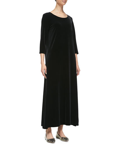 3/4-Sleeve Velour Long Dress, Black