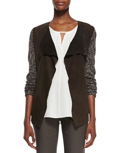 Swinging Suede/Knit Jacket, Women's