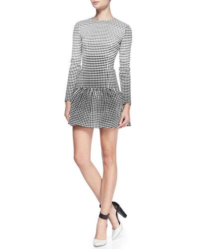 Delaney Windowpane-Jacquard Peplum Dress