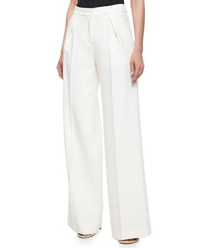 Pleated Wide-Leg Pants, Ivory