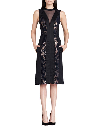 Paneled Metallic Illusion Dress, Black/Rose Gold