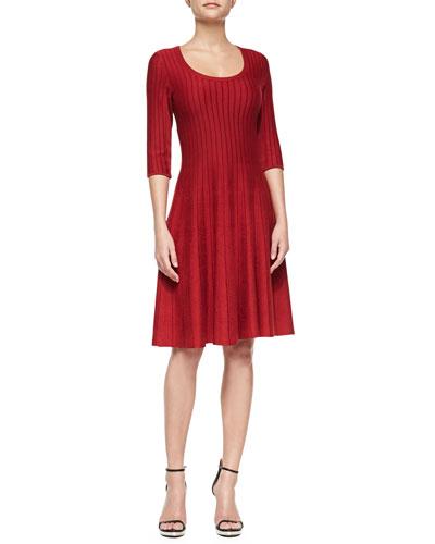 Twirl Half-Sleeve Knit Dress, Women's