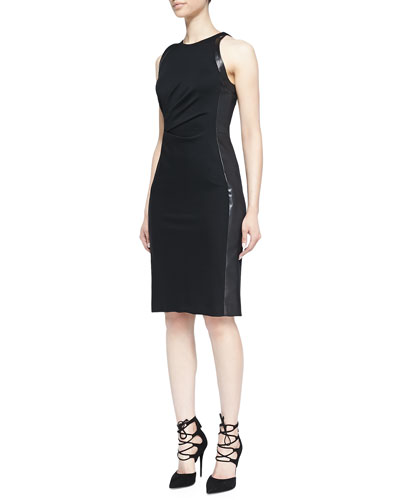 Leather-Panel Ruched Dress