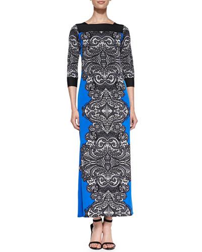 Print Jersey Lace-Border Long Dress