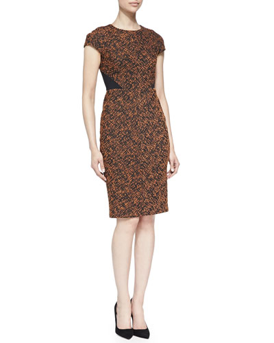 Printed Cap-Sleeve Dress with Solid Back Panel