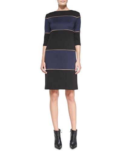 Ponte Striped Knit Dress, Women's