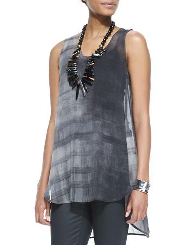 Sleeveless High-Low Printed Silk Tunic, Petite