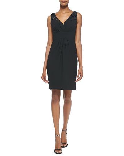Embellished V-Neck Cocktail Dress, Black