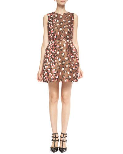 Sleeveless Pop Leo-Print Dress