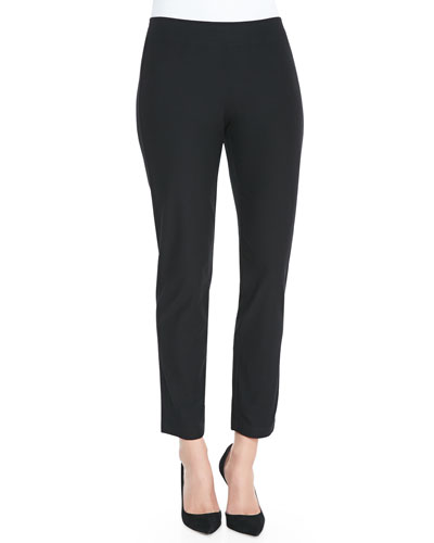Washable Crepe Slim Ankle Pants, Petite