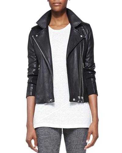 Vika Leather/Knit Moto Jacket