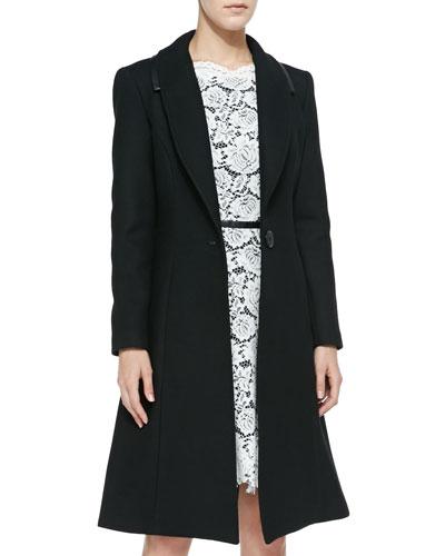 Caldera Faux-Leather-Trim Belted Coat
