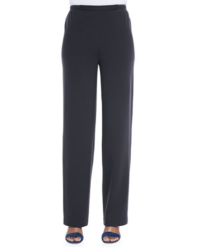 Flat Wool-Knit Pants, Petite