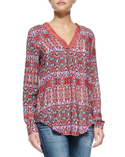 Marissa Silk Printed Long Sleeve Tunic, Red