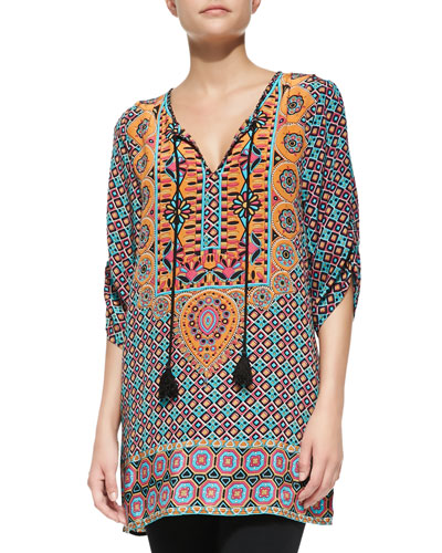Camryn Silk Printed Long Tunic, Orange