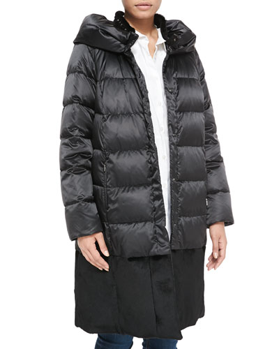 Melbourne Quilted Fur-Collar Puffer Coat, Women's