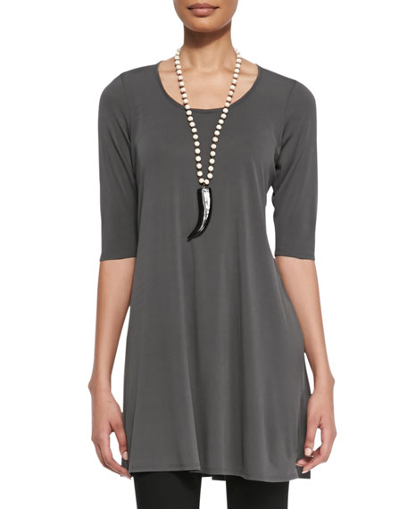 dd54ea8bd54 Eileen Fisher Half-Sleeve Silk Jersey Tunic, Women's