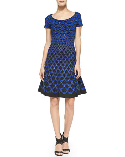 Scallop-Print Fit & Flare Dress