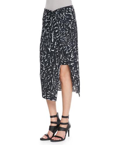 Strata-Print Asymmetric Wrap Midi Skirt