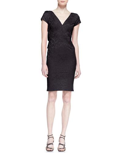 Short Sleeve Jacquard Sheath Dress, Black