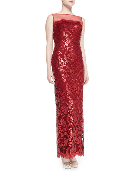 Tadashi Shoji Sleeveless Sequined Lace Overlay Gown
