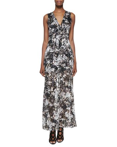 Printed/Burnout Sleeveless Satin Maxi Dress