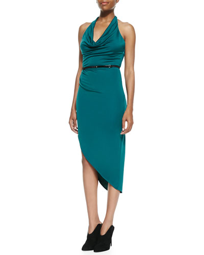 Belted Jersey Wrap Halter Dress
