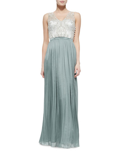 Sleeveless Beaded Bodice Pleated Skirt Gown