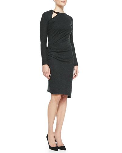 Wool Side-Pleat Long-Sleeve Dress
