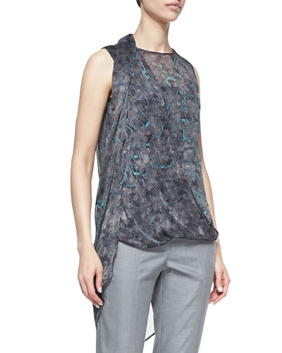Printed Draped-Front Sleeveless Top