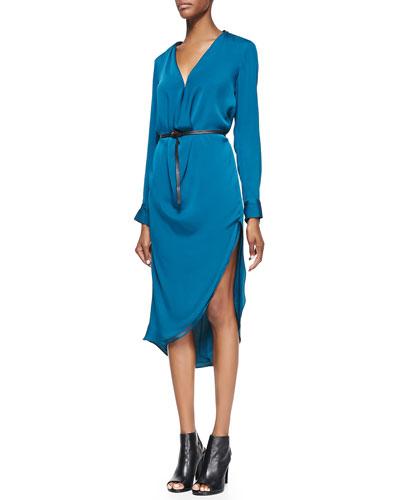 Draped Long-Sleeve Satin Dress
