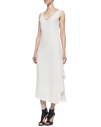 Crepe Layered-Skirt Sleeveless Maxi Dress