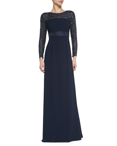 Long-Sleeve Ponte Gown with Sequined Detail