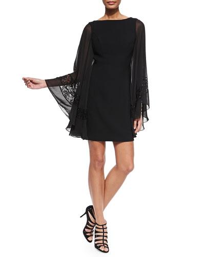 Chiffon Beaded-Inset Cocktail Dress, Black