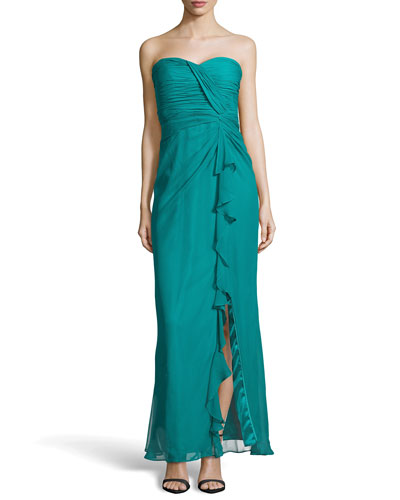 Shirred Chiffon Strapless Gown, Cerulean
