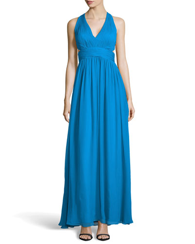 Chiffon Halter Gown with Side Cutouts